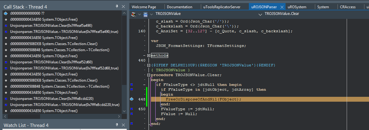 Json parser call twice to destroy on Delphi linux - Remoting SDK