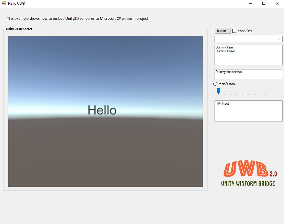 WinForms GUI with Unity 3D Renderer (Unity 3D embedded in