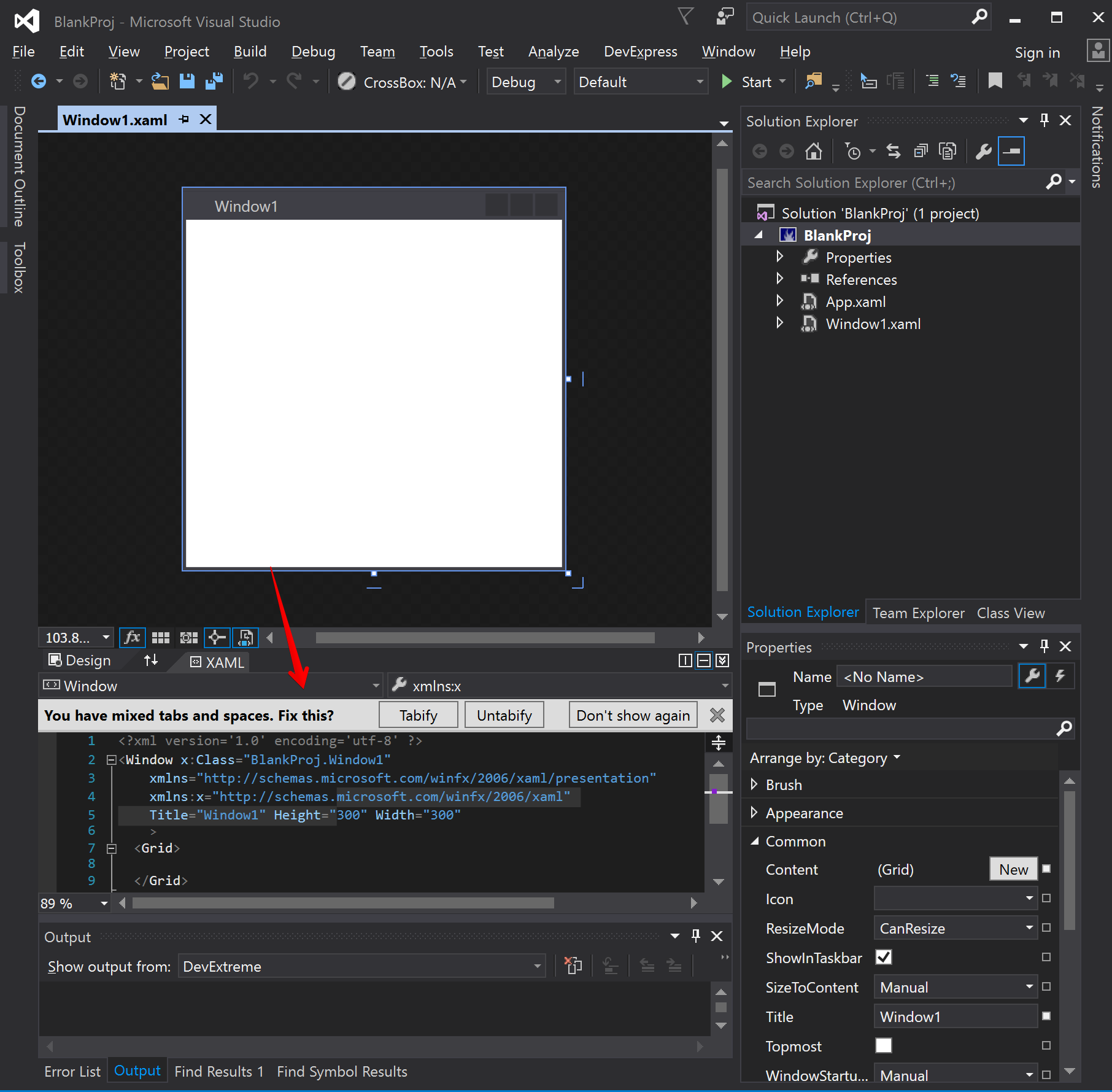 You have mixed Tabs and Spaces  Fix this? WPF Project with